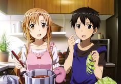Anime picture 3804x2672 with  sword art online a-1 pictures yuuki asuna kirigaya kazuto nishiguchi tomoya long hair short hair highres open mouth black hair brown hair brown eyes absurdres black eyes scan couple official art cooking girl male