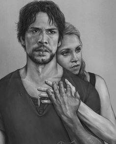 Beautiful drawing ❤ ... Bellamy and Clarke together the strongest heart on the show! credit to nikitajobsen (in tumblr) #the100cw…