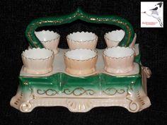 Victorian Majolica Egg Cruet Set (x6 egg Cups) Porcelain China 1800s Tableware