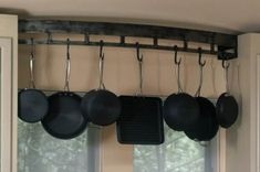 Wall Mounted Contemporary Steel Pot Rack by RenaissanceMetals Rustic Kitchen Design, Best Kitchen Designs, New Kitchen, Kitchen Decor, Kitchen Ideas, Ranch Kitchen, Kitchen Tips, Kitchen Interior, Kitchen Island