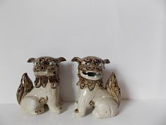 Vintage Foo Dog Statues Pair of Guardian Lions Ceramic Figurines Chinoiserie Decor