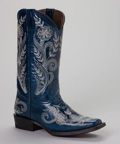 Another great find on #zulily! Blue & White Embroidered Cowboy Boot - Women by Pecos Bill #zulilyfinds