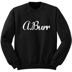 A Burr Hamilton Shirt Aaron Burr Sweatshirt Alexander Hamilton Gift... ($25) ❤ liked on Polyvore featuring tops, hoodies, sweatshirts, black, women's clothing, crew shirt, checkered shirt, vinyl shirt, crewneck sweatshirt and patch shirt
