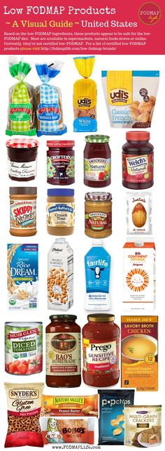 In the world of low-FODMAP, it can seem pretty daunting to find packaged foods that are low in FODMAPs or certified low-FODMAP. Luckily, more and more brands are producing low-FODMAP products and certifying them with the FODMAP Friendly Program or by Mona Fodmap Recipes, Diet Recipes, Vegan Recipes, Low Food Map Diet, Ibs Fodmap, Fodmap Meal Plan, Low Fodmap Foods, Food T, Nutrition