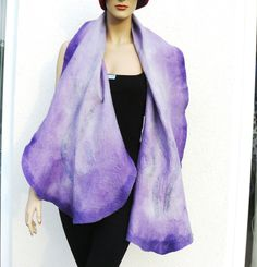 Nuno felted scarf, purple felted scarves, silk and wool shawl by MajorLaura on Etsy
