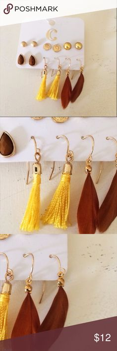 Boho Tassel and Feather Earring Set NWT 6 pairs of small earrings both studs and fishhooks. Yellow tassels, brown feathers, faux brown gem, and three pairs of goldtone studs. NWT from Charming Charlie Charming Charlie Jewelry Earrings