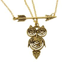 Retro Gold Owl Necklace, $9 Found at owlness.com