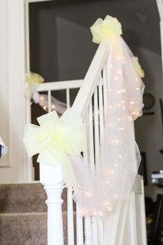 Pink tulle and lights staircase decor stairway for Home decorations wedding