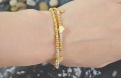C-127 Gold, Silver Beaded bracelet, Layered, Double strand, Heart bracelet, Simple, Modern bracelet, Gold plated/Everyday jewelry/