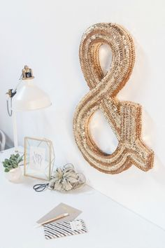 Sequined Monogram Wall Art - beautiful ampersand sign.