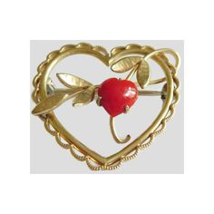 Vintage Krementz Heart Pin, Red Coral Gold Overlay Setting with... (€37) ❤ liked on Polyvore featuring jewelry, brooches, heart jewelry, vintage jewellery, heart brooch, red coral jewelry and krementz jewelry