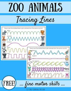 Animals: Tracing Lines for Fine Motor Skills Practice tracing lines while chatting about zoo animals from different countries with these free pages!Practice tracing lines while chatting about zoo animals from different countries with these free pages! Zoo Activities Preschool, Zoo Animal Activities, Preschool Jungle, Animal Worksheets, Motor Skills Activities, Writing Activities, Fine Motor Skills, Kindergarten Writing, Preschool Classroom
