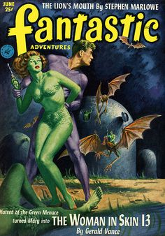 Green broads and bat-like alien beasts, how much more bizarre can sci-fi be...? (comment by paxi) (Fantastic Adventures 1952-06 #scifi)