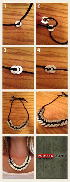 Paracord washer necklace. I've pinned the other version, but with paracord the color options are endless!!