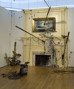 Valerie Hegarty. Seascape: Overseas (Fireplace with Harpoons) 2006 Foamcore, paper, paint, glue, gel medium Approx. 10' x 8' x 8'