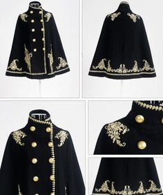 kind of want because it looks so royal even though I probably wouldn't wear it outside . - The wolf that kills Wool-Blend Double-Breasted Embroidered Cape Jacket - Dabuwawa Cool Outfits, Fashion Outfits, Womens Fashion, Mode Lolita, Estilo Lolita, Diy Kleidung, Mode Vintage, Character Outfits, Gothic Lolita