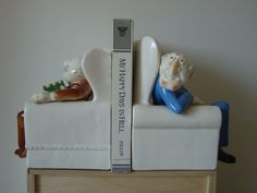 MUPPETS - PAIR Vintage STATLER & WALDORF BOOKENDS Sigma the from Aunt Maxine -til the movers crushed them