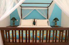 Chambre bleue de la Villa Sepalika au Sri-Lanka / Blue room in villa Sepalika in Sri Lanka
