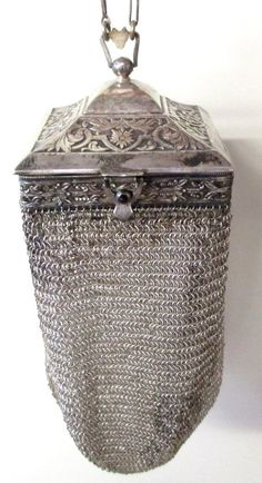 Antique Square Framed Vanity Silver Armor Mesh Purse