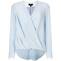 Rag & Bone wrap blouse ($530) ❤ liked on Polyvore featuring tops, blouses, blue, silk top, blue wrap top, wrap blouse, blue silk top and blue blouse