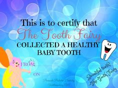 FREE Printable Certificate from the Tooth Fairy for your child!