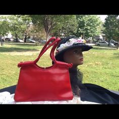 VTG BAG RED HOT VINYL HANDBAG WAS $15 NOW $12 Vintage Handbag hot red beautiful good condition, inside and out. Clip open in middle compartment on outside VINTAGE Bags