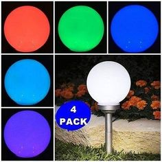 Solar Stake Globe Bright LED Garden Ball Light, Pack of 4 - Worked exactly as it should, no complaints. Solar Pathway Lights, Solar Lights, Solar Lighting System, Outdoor Propane Fire Pit, Outdoor Lighting Landscape, Garden Balls, Solar Lamp, Ball Lights, Packing Light