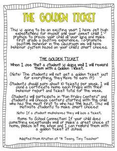 golden ticket idea for promoting positive behavior