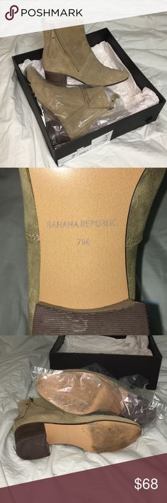 Banana Republic - Olive Suede Ankle Boots/Booties Banana Republic Olive Green Suede Ankle Boots that zip up and have a  1 1/2-2 inch chunky wooden heel. Comes with all original packaging.   I HAVE NEVER WORN THESE: bought them final sale from Banana Republic and they were too small for me. Please note: there is scuffing to the bottom as they had been worn and returned to Banana Republic before I purchased them (had been worn by previous owner).   Final Sale Banana Republic Shoes Ankle Boots…