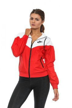 Nike Red Windbreaker - Women Windbreakers - Ideas of Women Windbreakers Nike Windbreaker Womens, Nike Windbreaker Jacket, Red Nike Shoes, Nike Shoes Outfits, Red Nike Jacket, Red Nike Hoodie, Cute Jackets, Sweatshirt Outfit, Nike Windbreakers
