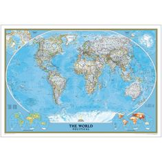 World Political Map (Classic), Enlarged and Laminated | National Geographic Store