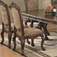 Coaster Formal Cherry Wood Dining Arm Chairs Cushion Seat Ribbon Entrancing Cushioned Dining Room Chairs Inspiration
