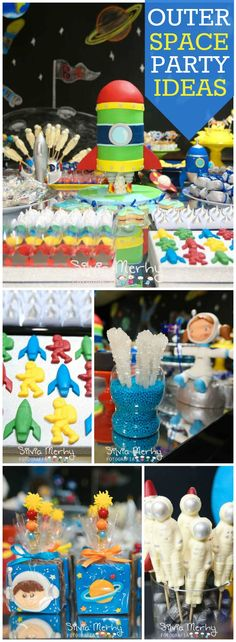 This outer space party introduced kids to the solar system!  See more party ideas at CatchMyParty.com!