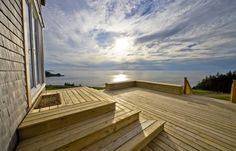 A beautiful 860 sq. oceanside cottage in Cape Breton Island with incredible ocean views with plenty of wildlife sighting opportunities. Contemporary Cottage, Modern Coastal, Coastal Decor, Coastal Entryway, Coastal Interior, Coastal Farmhouse, Coastal Cottage, Coastal Style, Entryway Decor