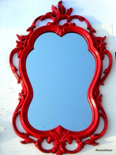 Red Mirror Hollywood Regency vintage frame. $155.00, via Etsy.  Over the Vanity Table.  #dining #diningroom #diningdecor #homedecor #red
