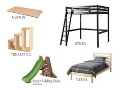 This creates a safer way to get up and down from the top bunk (via stairs instead of a ladder), and creates a landing space, too. The TROFAST provides the necessary storage, and the slide and secret space created are bonuses. 1. Start with the STORA loft bed, which we cut off 12″ from each …