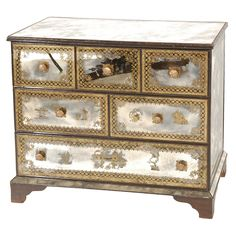 Verre Eglomise Chest of Drawers by New Era Glass   From a unique collection of antique and modern commodes and chests of drawers at http://www.1stdibs.com/furniture/storage-case-pieces/commodes-chests-of-drawers/ Sold by Dragonette Ltd. http://www.1stdibs.com/dealers/dragonette-ltd/