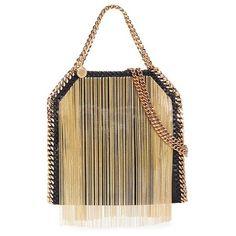 Stella Mccartney 'Falabella' mini metallic fringe crossbody chain tote (39 970 ZAR) ❤ liked on Polyvore featuring bags, handbags, tote bags, purses, metallic, brown tote, crossbody purse, purse crossbody, brown fringe purse and handbags & purses