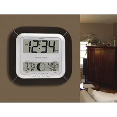 La Crosse Technology Atomic Digital Wall Clock with Moon Phase  & Indoor/Outdoor Temperature