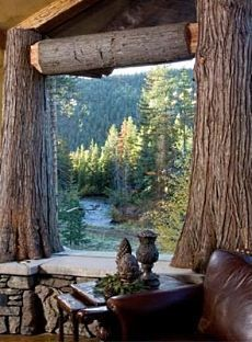 Use all that Mother Nature provides to build your dream mountain home .  How amazing are the large trees for structural support?