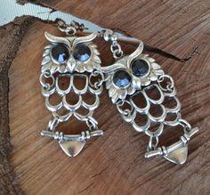 Owl Earrings Silver Owl Earrings Antique Silver by LKArtChic