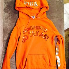 Victoria secret Texas Longhorns hoodie *selling for a friend* she only wore it once or twice. In excellent condition & super cute! PINK Victoria's Secret Tops Sweatshirts & Hoodies