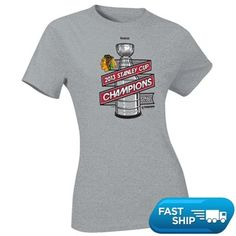 e6317dade Reebok Chicago Blackhawks 2013 NHL Stanley Cup Final Champions Ladies  Locker Room Silver Shine T-Shirt - Gray