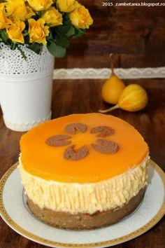 Zambetania: Prajitura cu dovleac si crema de branza Torte Cake, Food Cakes, Cake Recipes, Cheesecake, Sweet, Smoothie, Desserts, Sweets, Cakes