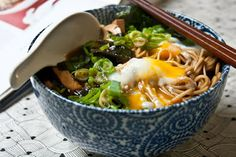 3 hungry tummies: Miso Soba 味噌そば Soba Noodles In Miso Soup With Hot Spring Egg #Miso, #Soup, #MisoSoup