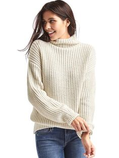 b452a7459c Gap Off White funnel neck sweater White Sweaters
