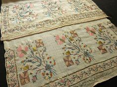 Antique Ottoman Turkish Silk Embroidery Towel Yaglik Metallic Accents 19x50   eBay