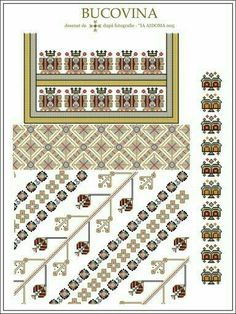 Ie Bucovina Folk Embroidery, Embroidery Patterns, Cross Stitch Patterns, Knitting Patterns, Simple Cross Stitch, Embroidery Techniques, Craft Patterns, Beading Patterns, Diy Clothes