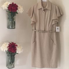 Calvin Klein Work Dress Beautiful Calvin Klein work dress with gold belt detail! Perfect piece for the working woman. Calvin Klein Dresses Midi