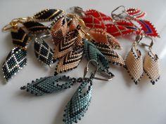 miyuki delica russian leaf earrings Beading Projects, Leaf Earrings, Brooch, Beads, Jewelry, Fashion, Beading, Moda, Jewlery